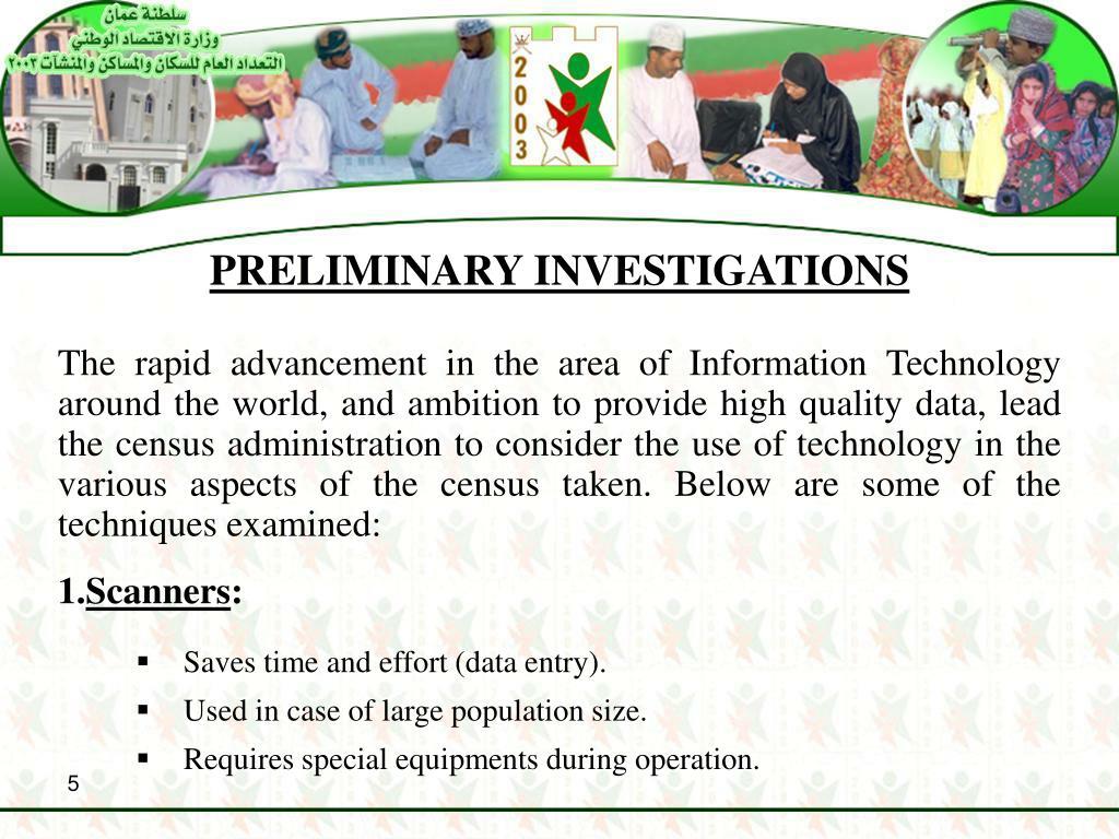 PRELIMINARY INVESTIGATIONS