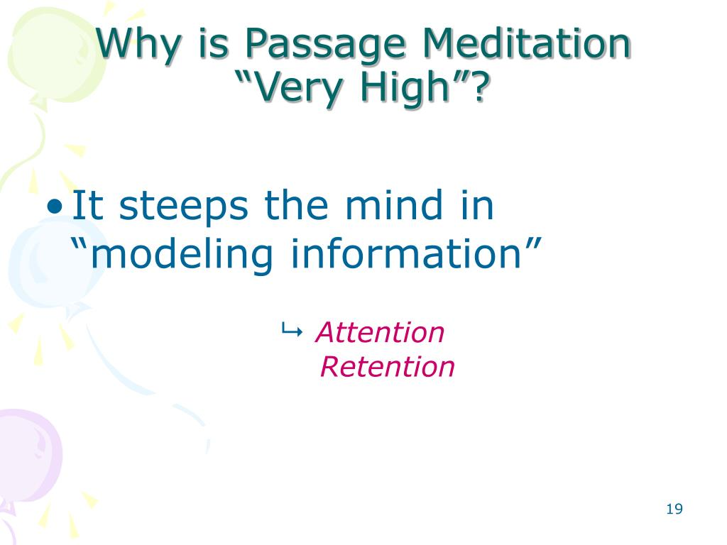 Why is Passage Meditation