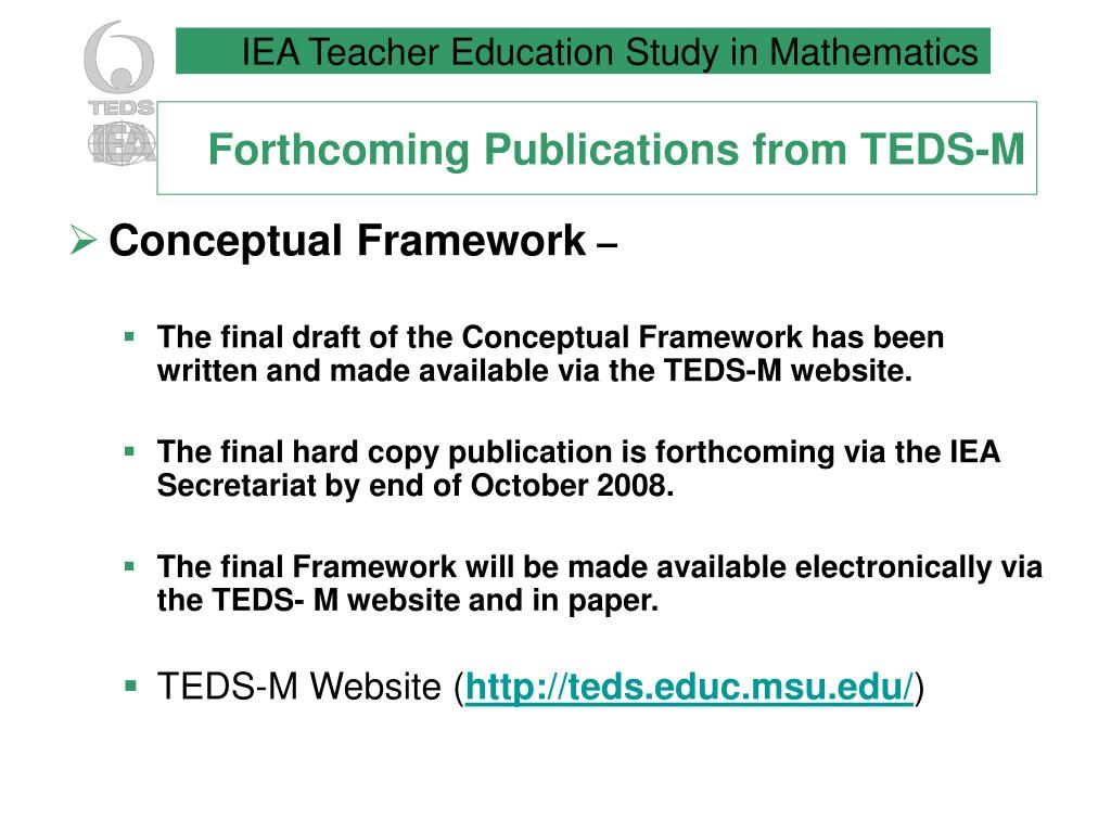 Forthcoming Publications from TEDS-M
