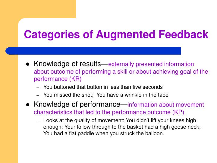 Categories of Augmented Feedback
