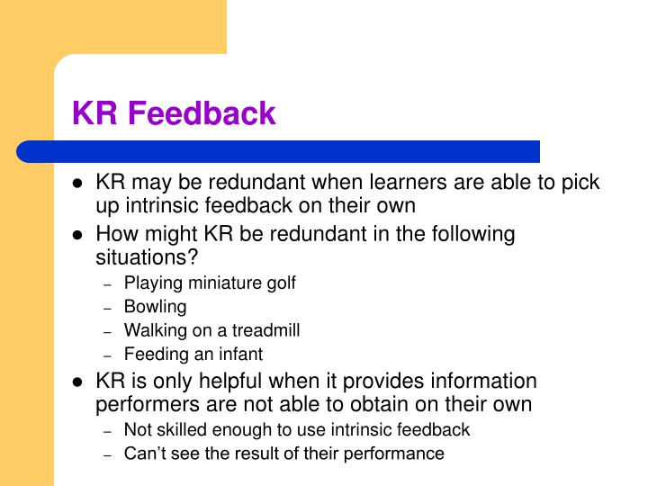 KR Feedback