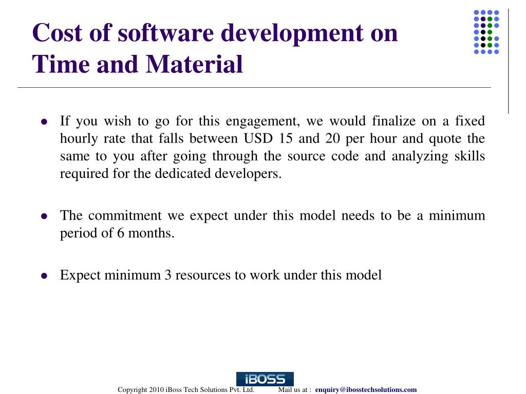 Cost of software development on Time and Material