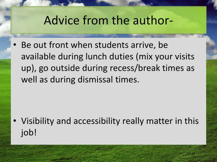 Advice from the author-