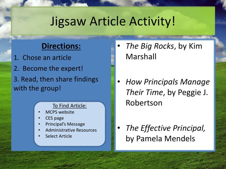 Jigsaw Article Activity!