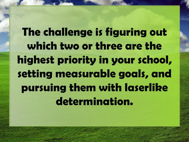 The challenge is figuring out which two or three are the highest priority in your school, setting measurable goals, and pursuing them with