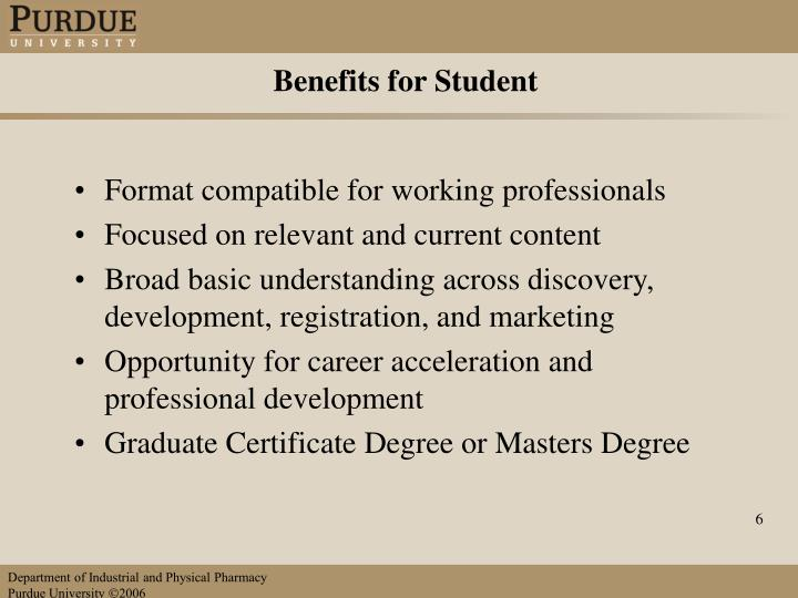 Benefits for Student