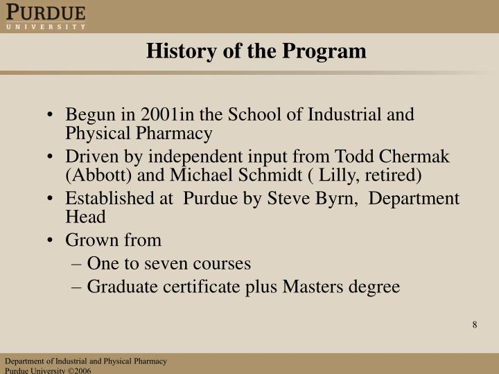 History of the Program