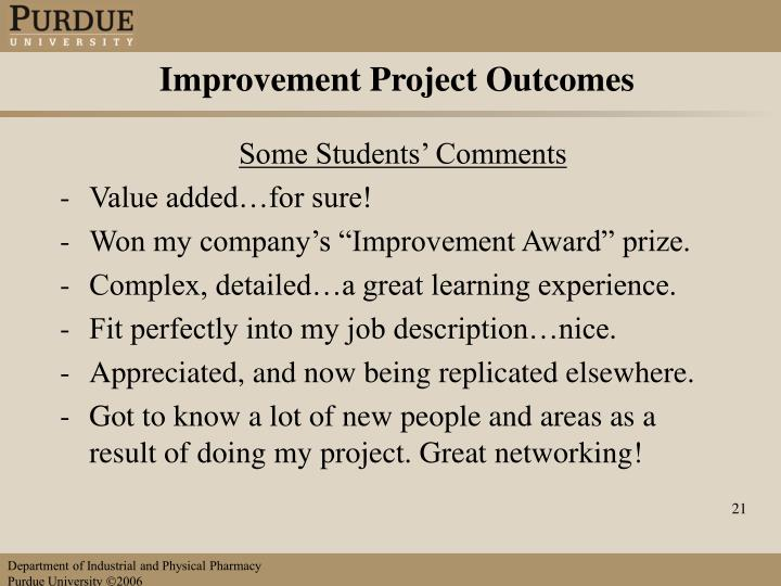 Improvement Project Outcomes