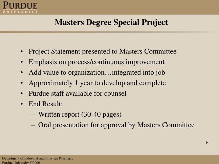 Masters Degree Special Project