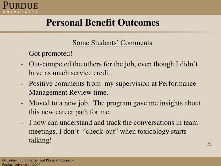Personal Benefit Outcomes