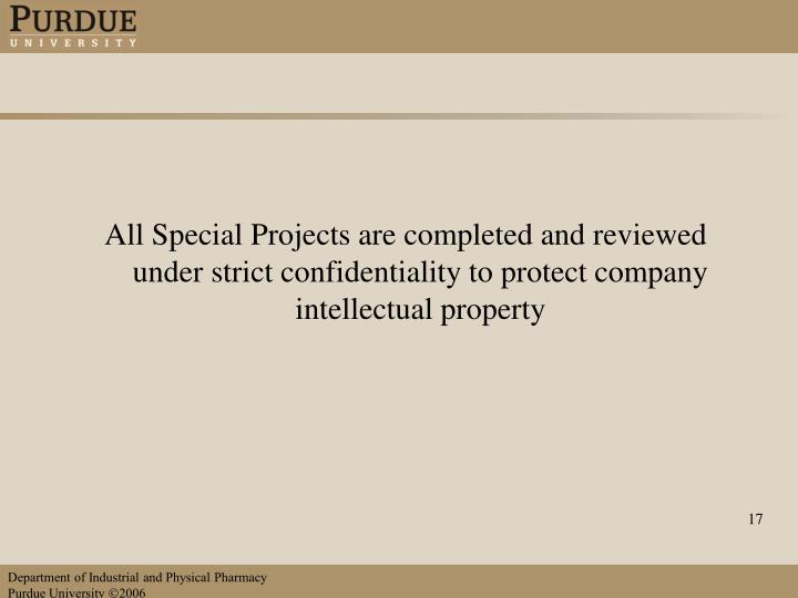 All Special Projects are completed and reviewed under strict confidentiality to protect company intellectual property