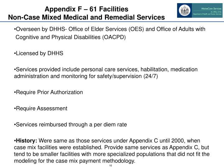 Appendix F – 61 Facilities
