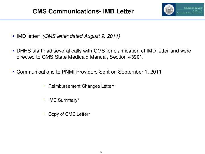 CMS Communications- IMD Letter