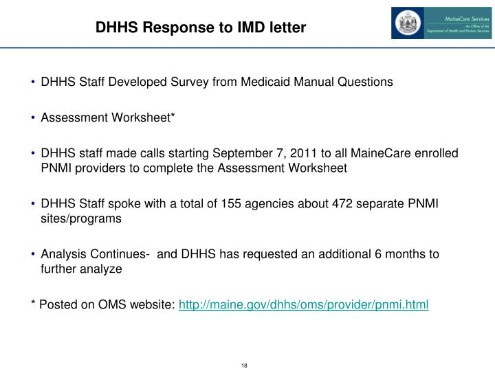 DHHS Response to IMD letter