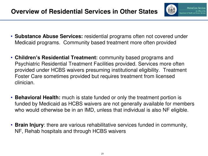 Overview of Residential Services in Other States