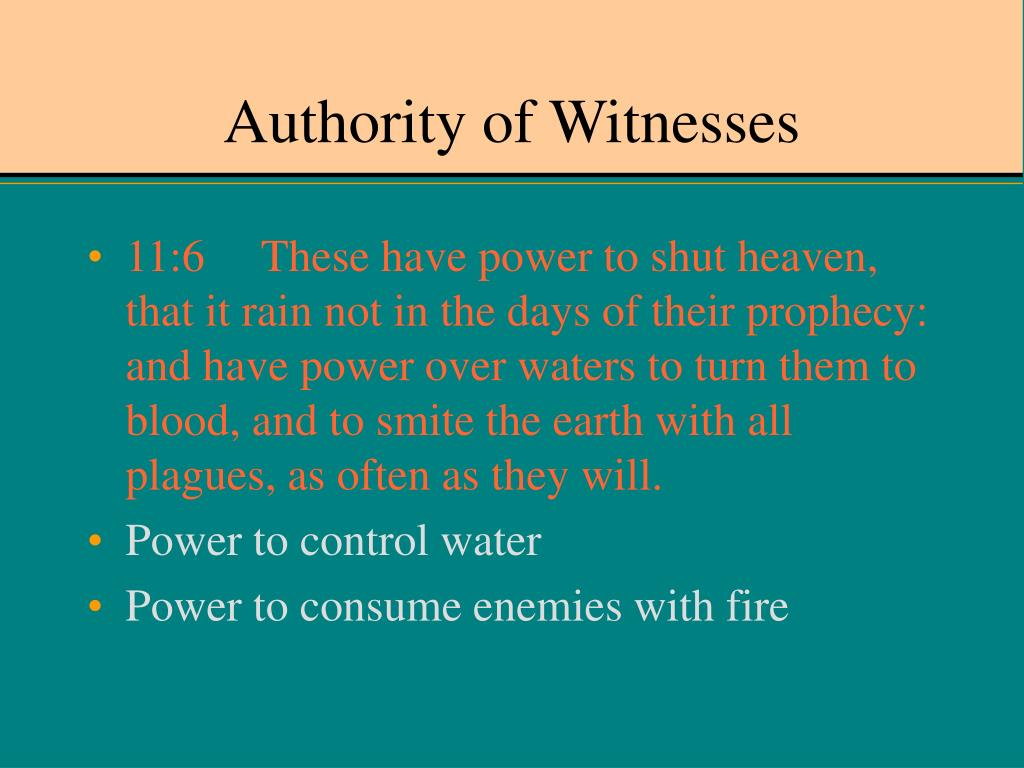 Authority of Witnesses