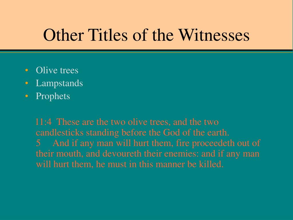 Other Titles of the Witnesses