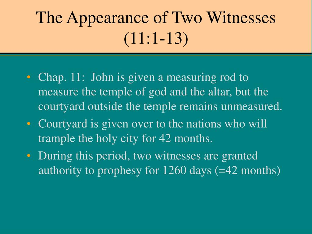 The Appearance of Two Witnesses (11:1-13)
