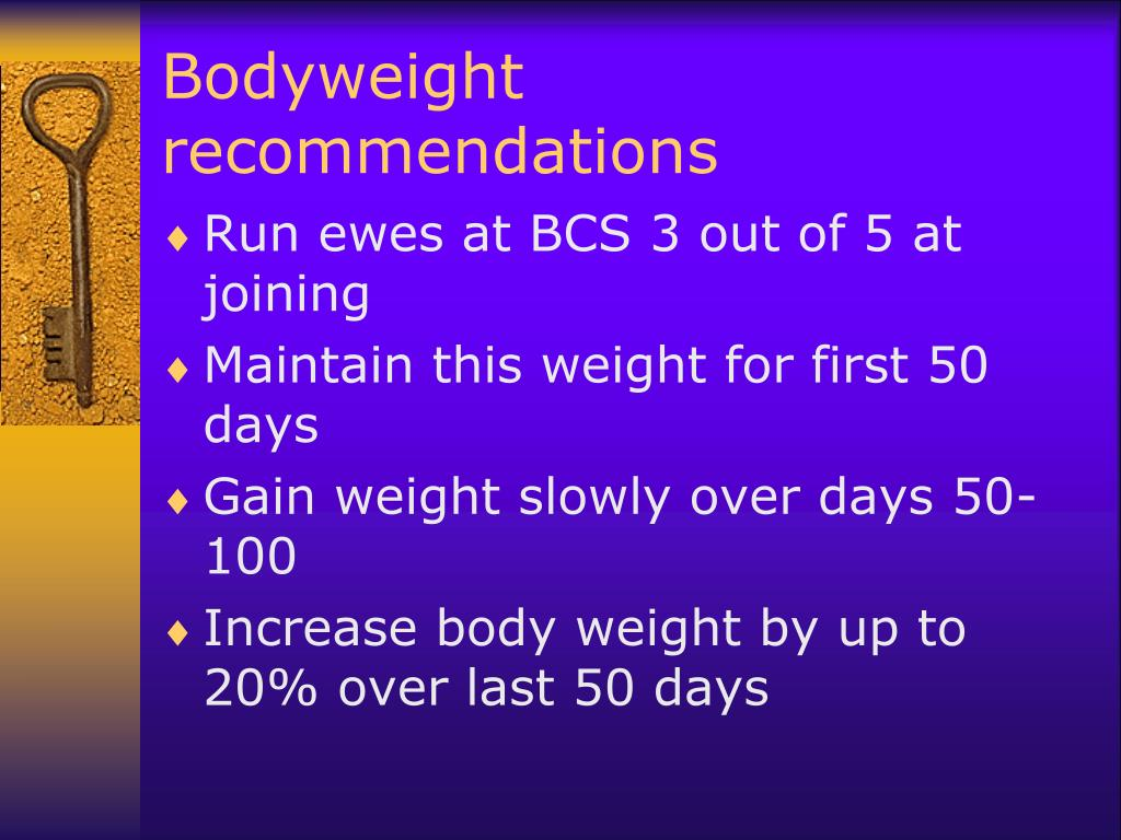 Bodyweight recommendations