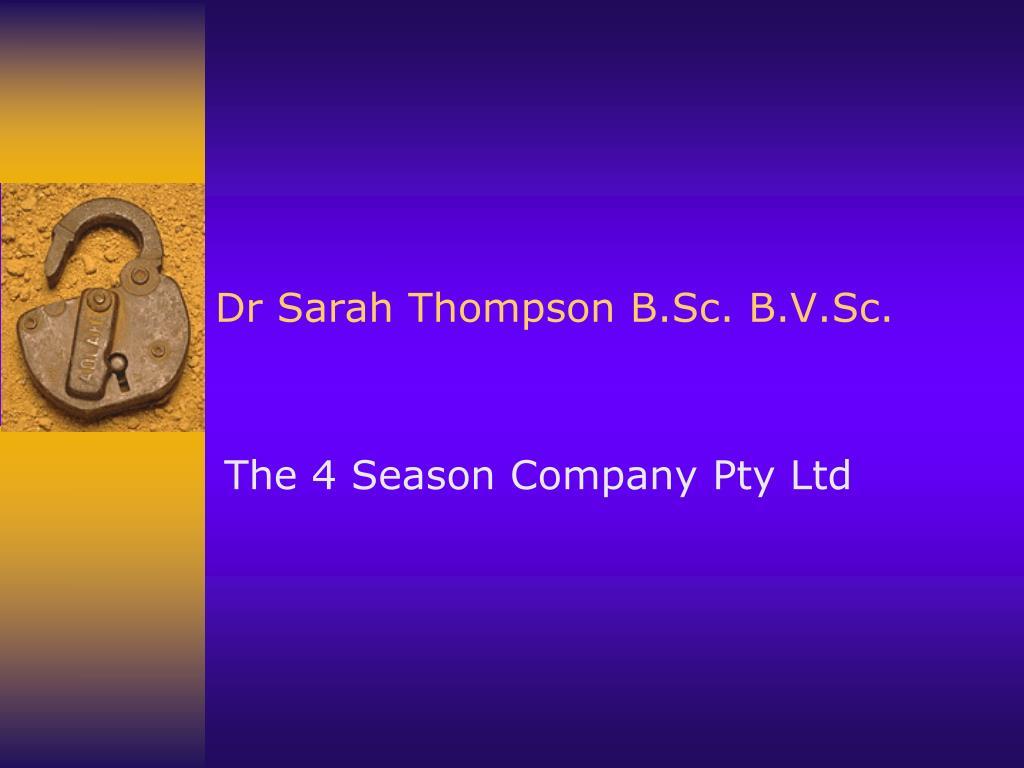 Dr Sarah Thompson B.Sc. B.V.Sc.