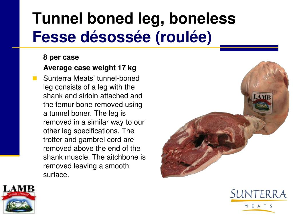 Tunnel boned leg, boneless