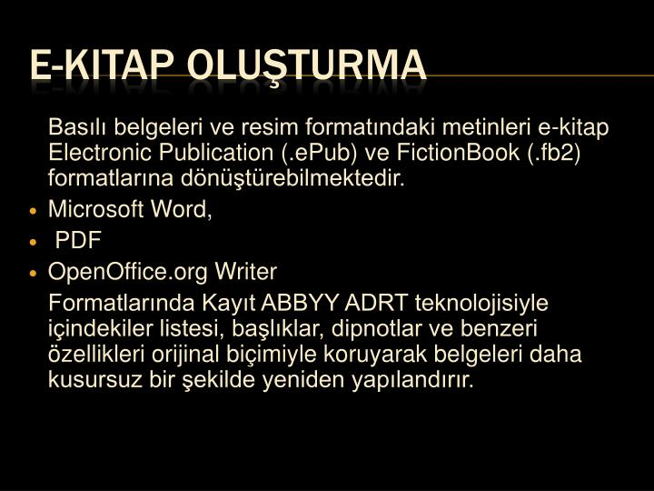 Basılı belgeleri ve resim formatındaki metinleri e-kitap