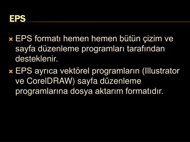 EPS formatı hemen hemen bütün çizim ve sayfa düzenleme programları tarafından desteklenir.
