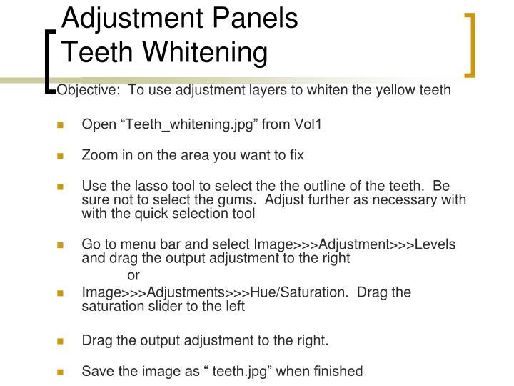 Adjustment Panels