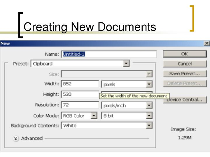 Creating new documents