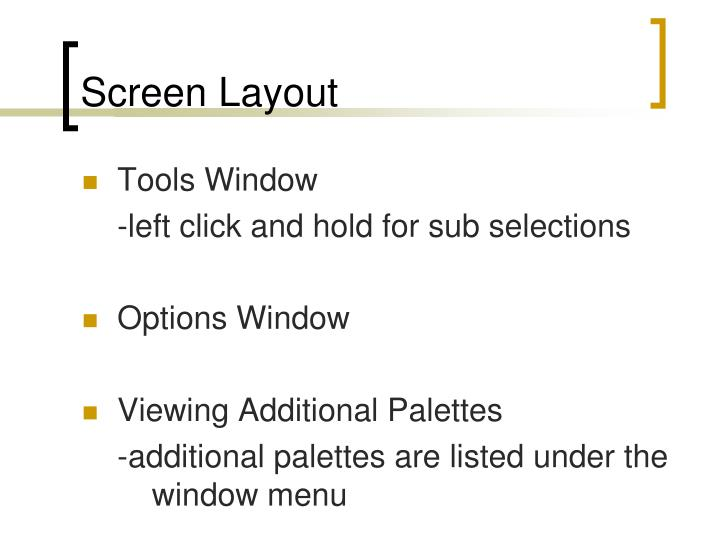 Screen layout