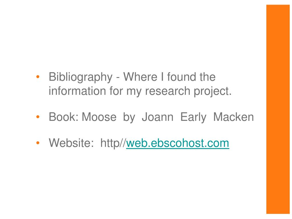 Bibliography - Where I found the information for my research project.