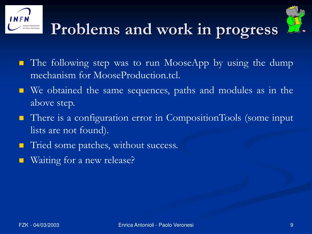 Problems and work in progress