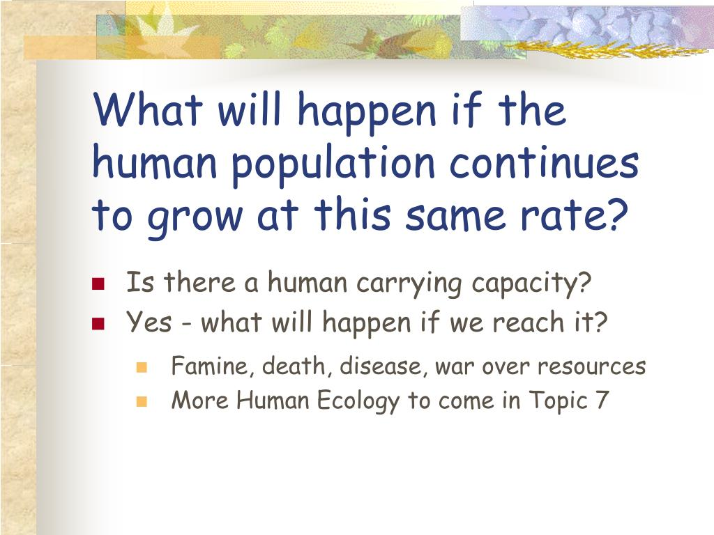 What will happen if the human population continues to grow at this same rate?