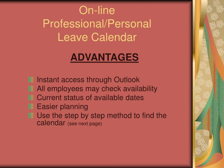 On line professional personal leave calendar