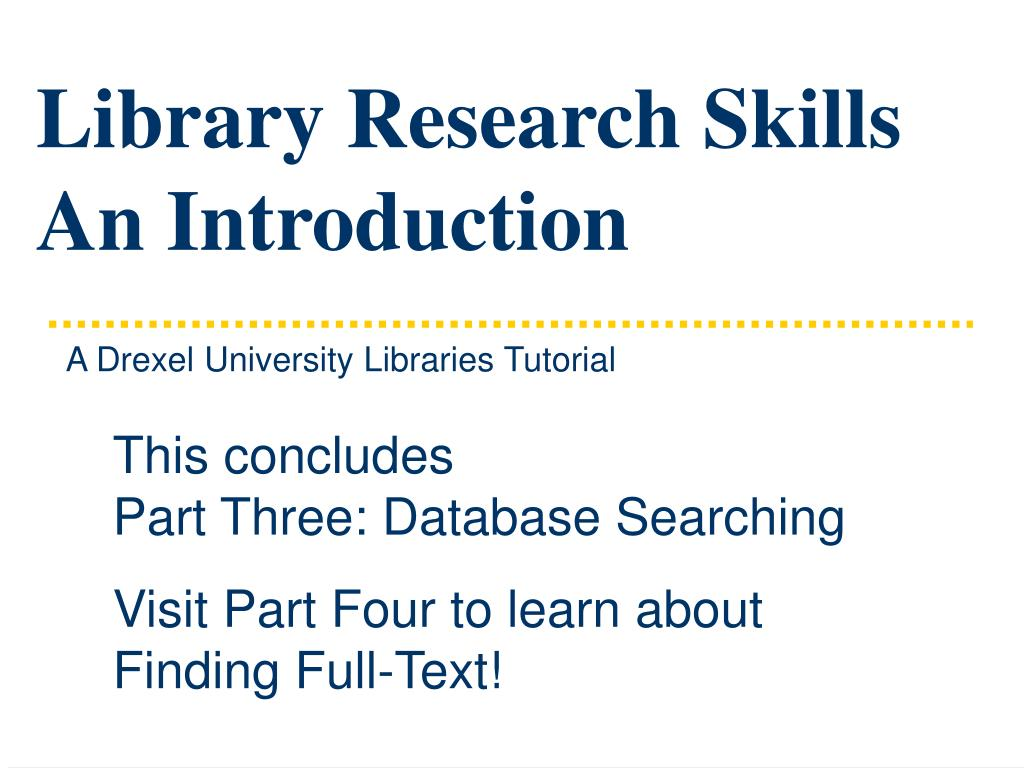 Library Research Skills