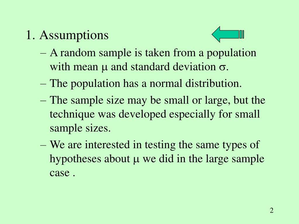 1. Assumptions
