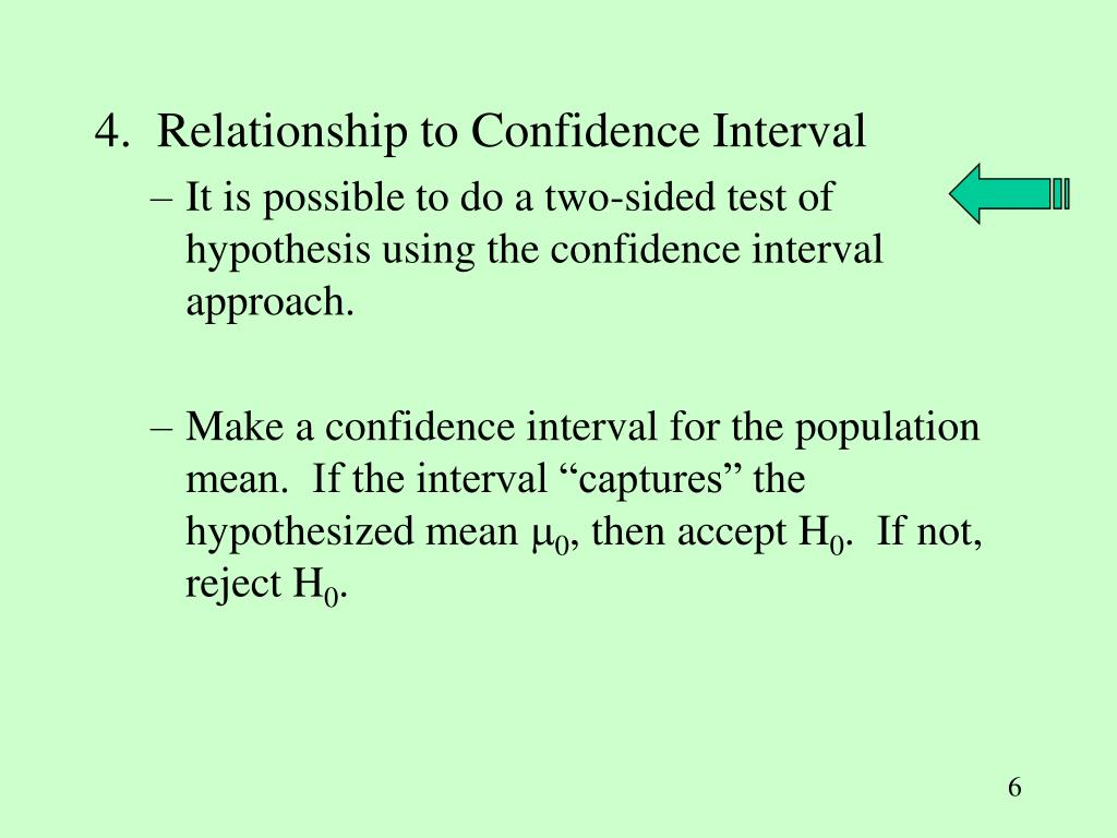 4.  Relationship to Confidence Interval