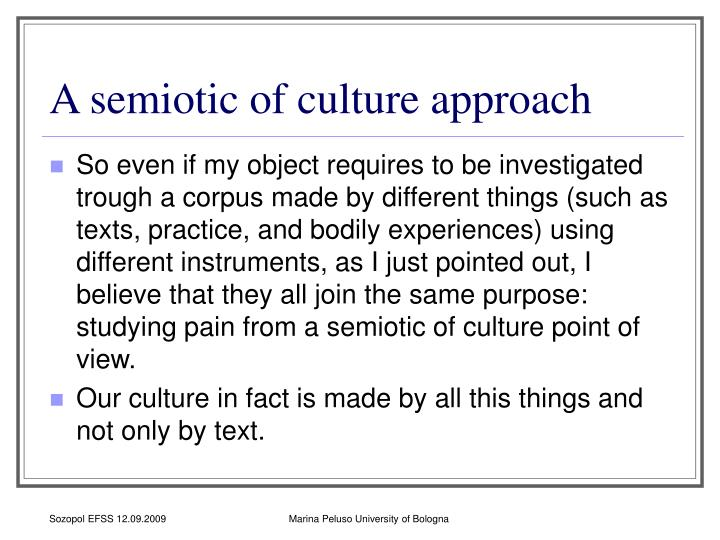 A semiotic of culture approach