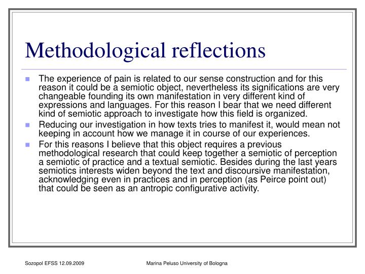 Methodological reflections