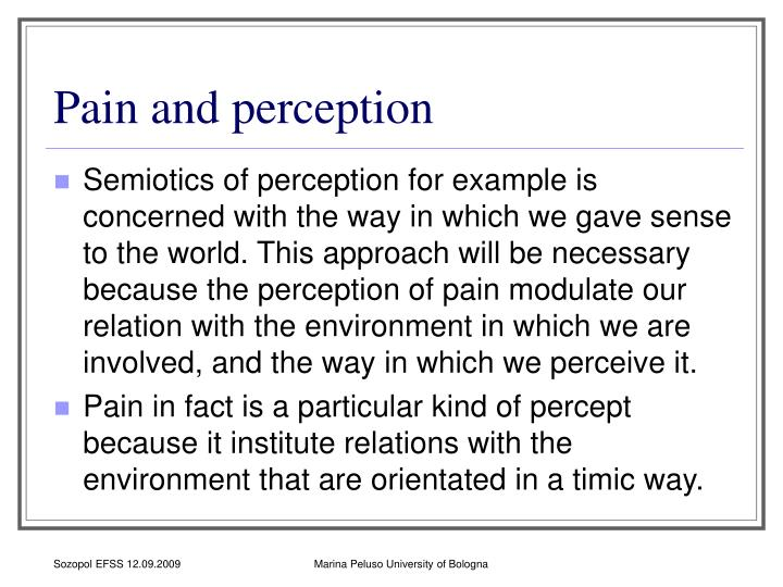 Pain and perception
