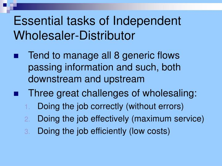 Essential tasks of independent wholesaler distributor