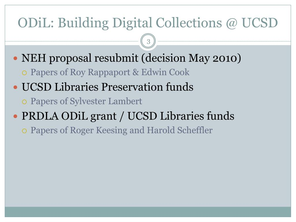 ODiL: Building Digital Collections @ UCSD