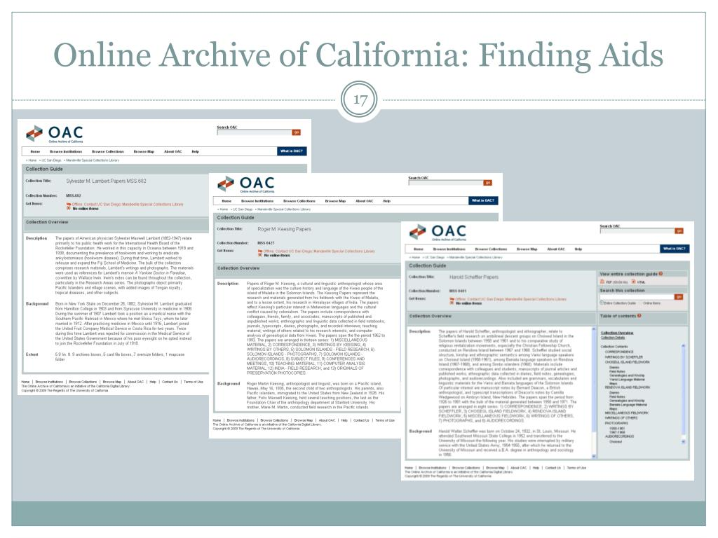Online Archive of California: Finding Aids