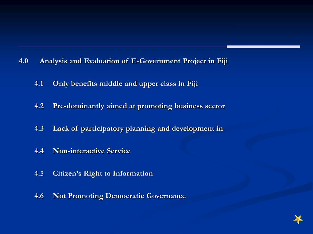 4.0	Analysis and Evaluation of E-Government Project in Fiji