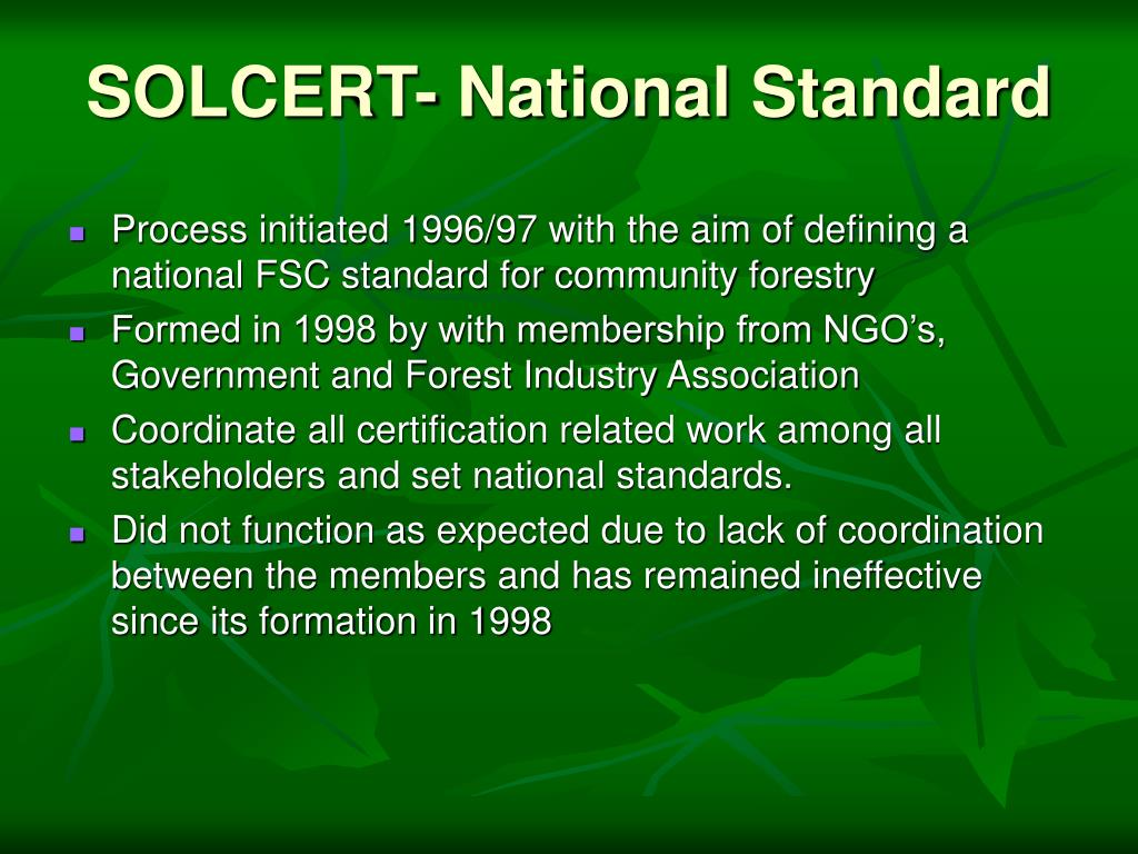 SOLCERT- National Standard