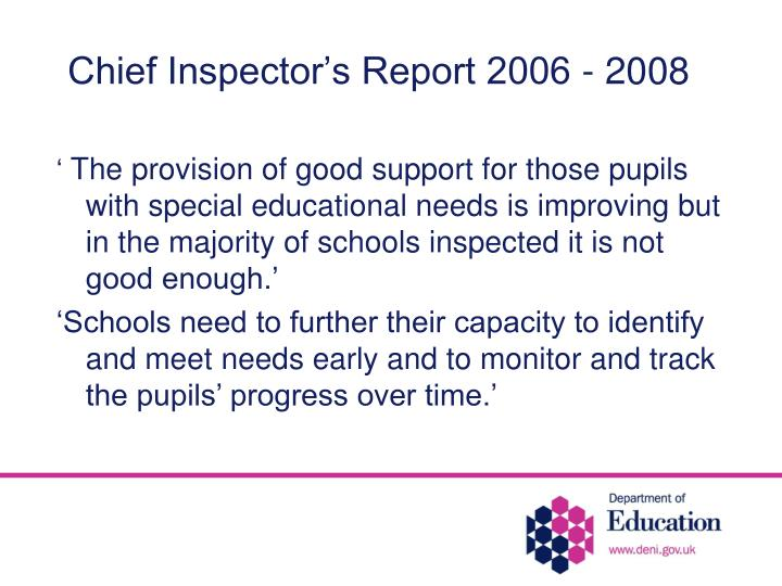 Chief Inspector's Report 2006 - 2008