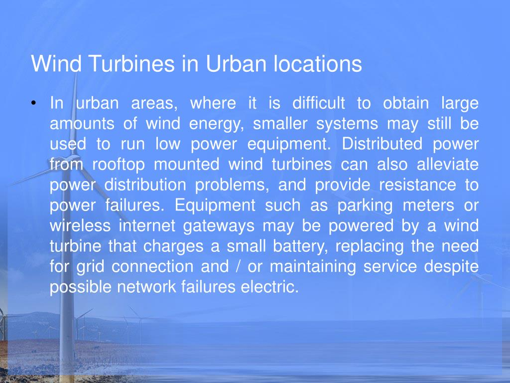 Wind Turbines in Urban locations