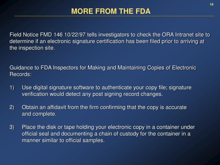 MORE FROM THE FDA