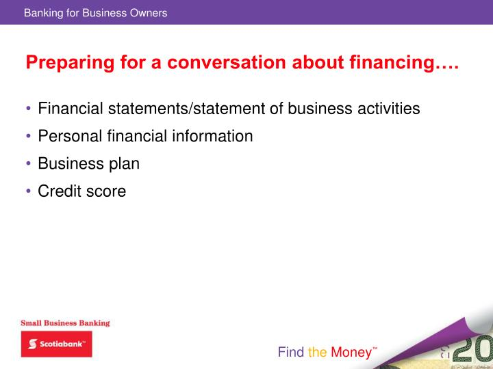 Preparing for a conversation about financing….