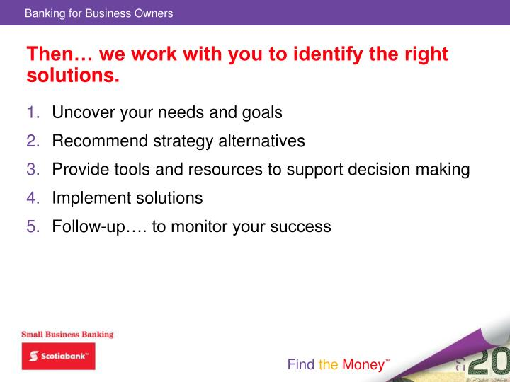 Then… we work with you to identify the right solutions.